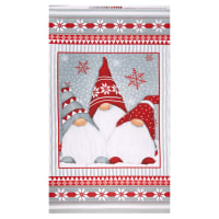 "Henry Glass Flannel Winter Whimsy 24"" Gnomes Panel Red/Gray"