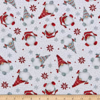Henry Glass Flannel Winter Whimsy Tossed Gnomes White/Red