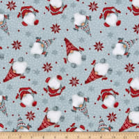 Henry Glass Flannel Winter Whimsy Tossed Gnomes Gray