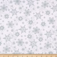 Henry Glass Flannel Winter Whimsy Snowflakes White/Gray