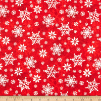 Henry Glass Flannel Winter Whimsy Snowflakes Red