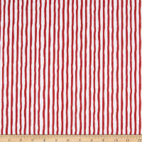 Henry Glass Flannel Winter Whimsy Stripe Red/White