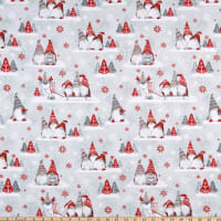 Henry Glass Flannel Winter Whimsy Groups Of Gnomes Gray/Red