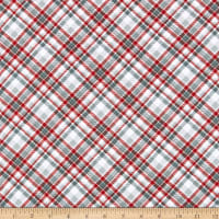 Henry Glass Flannel Winter Whimsy Bias Plaid Red/Gray