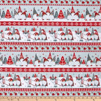 Henry Glass Flannel Winter Whimsy Gnome Novelty Stripe Red/Gray