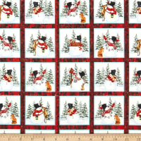 "Henry Glass Snow Days Small Snowman 24"" Block Panel Red"