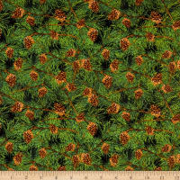 Henry Glass Snow Days Pine Needles & Pinecones Green