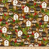 Henry Glass Flannel Woodland Haven Birdhouses Brown/Multi