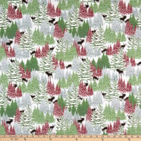 Henry Glass Flannel Woodland Haven Trees & Small Animals Green