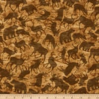 Henry Glass Flannel Woodland Haven Animal Silhouette Brown