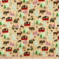 Henry Glass Flannel Woodland Haven Animals & Camping Motifs Brown