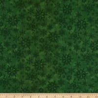 Henry Glass Flannel Woodland Haven Snowflakes Green