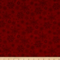 Henry Glass Flannel Woodland Haven Snowflakes Red