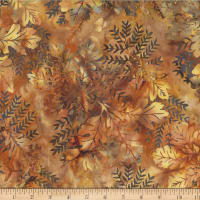 Hoffman Bali Batik Oak Leaves Palomino