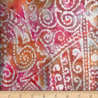 Textile Creations Rayon Challis Batik Scroll Patch Design Orange