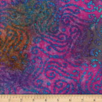 Textile Creations Rayon Challis Batik Scroll Bright Multi
