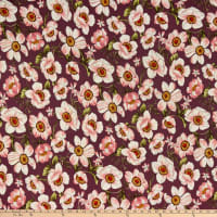 Double Brushed Poly Jersey Knit Blooming Floral Orchid/Mauve