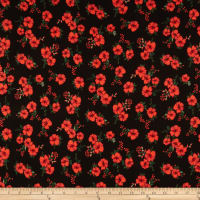 Double Brushed Poly Jersey Knit Mini Floral Black/Red