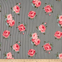 Double Brushed Poly Jersey Knit Striped Roses Black/Pink