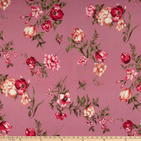 Double Brushed Poly Jersey Knit Roses Orchid/Hot Pink