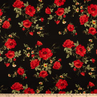 Fabric Merchants Double Brushed Poly Stretch Jersey Knit Roses Black/Red