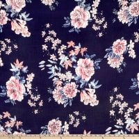 Double Brushed Poly Jersey Knit Floral Garden Navy/Mauve