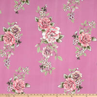 Double Brushed Poly Jersey Knit Floral Lilac/Dusty Rose