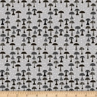 Stoffabric Denmark Rocky Raccoon Mushrooms Grey
