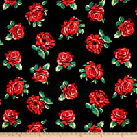 Liverpool Double Knit Roses Black/Red