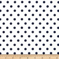 Liverpool Double Knit Polka Dot Navy on Off White