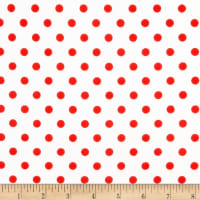 Fabric Merchants Liverpool Double Knit Polka Dot Red on Off White