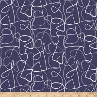 Ampersand Abstract Collage Abstract Lines White/Navy