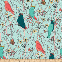 Cockatoos Peaches Pears Branches Sea Green
