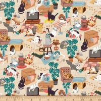 Paintbrush Studio Fabrics Hats for Cats Cats Playing Tan