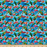 Paintbrush Studio Fabulous Flamingos Small Flamingos Leaves Dark Blue