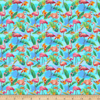 Paintbrush Studio Fabulous Flamingos Small Flamingos Leaves Light Blue