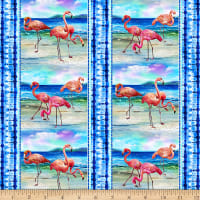 Paintbrush Studio Fabulous Flamingos Scenic Flamingos Blue Stripe