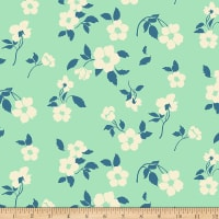 Paintbrush Studios Tiara Medium Splashy Ecru Flowers Teal