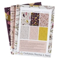 Cockatoos, Peaches, and Pears Fat Quarter Pack 6 Pcs Ecru
