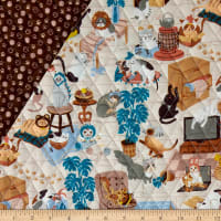 Paintbrush Studio Fabrics Hats for Cats Quilted Fabric Multicolored