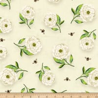 Wilmington Floral Serenade Peony Toss Cream