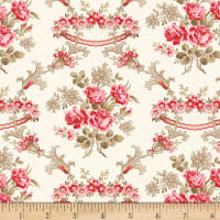Wilmington Rhapsody In Reds Floral Damask Ivory