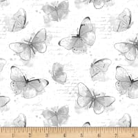 Wilmington Painting Paris Butterflies Allover White/Grey