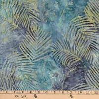 Central Java Indonesian Batik Leaf Blue/Grey