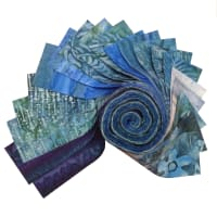 "Indonesian Batik 2.5"" Strips Pack 20 Pcs Blue/Green"