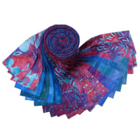 "Indonesian Batik 2.5"" Strips Pack 20 Pcs Fuchsia/Purple/Blue"