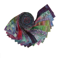 "Indonesian Batik 2.5"" Strips Pack 20 Pcs Purple/Green/Blue"