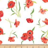 Art Gallery Floralish Poppy Reflections Knit Red/Green/WhIte