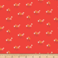 Art Gallery Dew & Moss Daisy Button Buds Knit Red/Orange