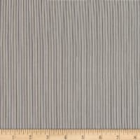 Rayon Challis Small Vertical Stripe Black/Ivory